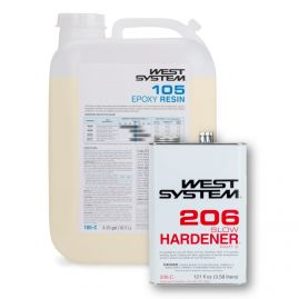 West System - Slow - 5.3 Gallon Kit - (4.35 Gallons 105-C Base Epoxy Resin & 0.94 Gallon 206-C Slow Hardener)