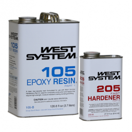 West System - Fast - 1.2 Gallon / 154 fl oz. Kit - (1 Gallon 105-B Base Epoxy Resin & .86 Quart 205-B Fast Hardener)