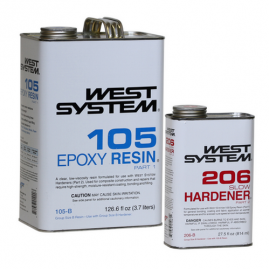 West System - Slow - 1.2 Gallon / 154.1 fl oz Kit - (1 Gallon 105-B Base Epoxy Resin & .86 Quart 206-B Slow Hardener)
