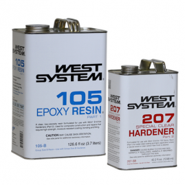West System - Special Clear - 1.3 Gallon / 168.6 fl oz Kit - (1 Gallon 105-B Base Epoxy Resin & .33 Gallon 207-SB Special Clear Hardener)