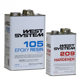 West System - Extra Slow - 1.3 Gallon / 168.6 fl oz Kit - (1 Gallon 105-B Base Epoxy Resin & .33 Gallon 209-SB Extra Slow Hardener)