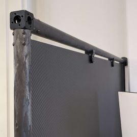 """Carbon Fiber (Woven 2x2 Twill) Office Partition - Matte Finish - Free Standing - 48"""" x 72"""" with 1.5"""" Tubing"""