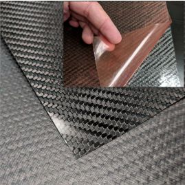 "Veneer - Carbon Fiber - 3k Twill - Gloss with Adhesive Backing - 0.02"" / 0.5mm thick (+ options)"