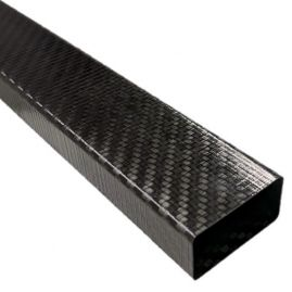 Tube - Rectangle - Carbon Fiber - Thin Wall - All Fabric Twill - 0.750 x 1.490 - 0.780 x 1.530 x 66 Inch