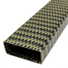 Tube - Rectangle - Carbon & Aramid (Kevlar) All Braid - Yellow - 0.375 x 1.000 - 0.428 x 1.05 x 60 inch
