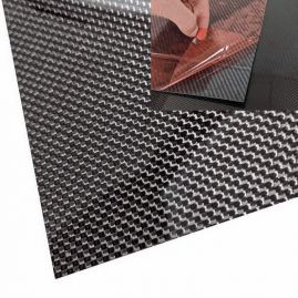 "Veneer - Carbon Fiber - 3k Plain Weave - Gloss with Adhesive Backing - 0.02"" / 0.5mm thick (+ options)"
