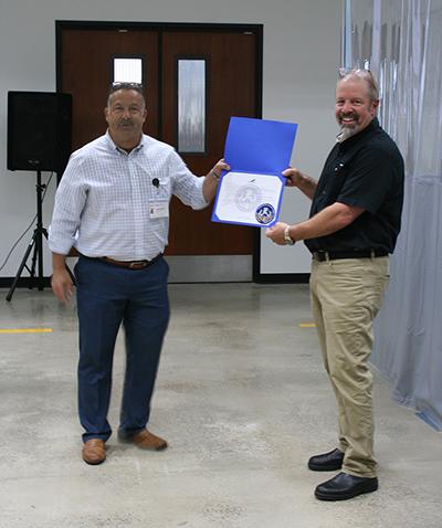 Certification of Appreciation presented to RWC